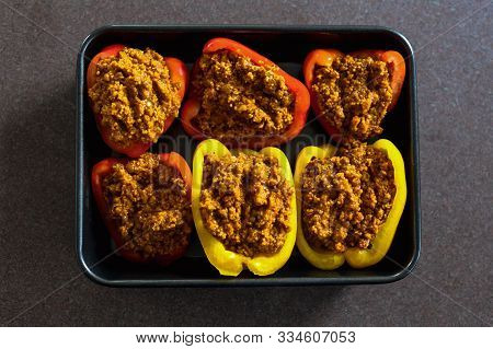 Stuffed Bell Peppers With Vegan Lentil And Cous Cous Bolognaise Stuffing