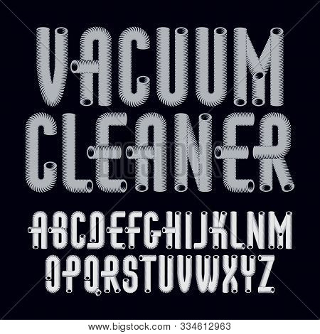Vector Trendy Capital English Alphabet Letters Collection. Retro Type Font, Script From A To Z Best