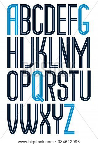 Vector Tall Condensed Capital English Alphabet Letters Collection Made With White Lines, Can Be Used