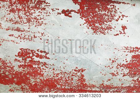 White & Red Grunge Background. Shabby Red Paint.  Dissection Aging.  Texture For Your Design.