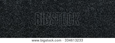 Wide Panorama Of Black And White  Background. Texture Matte Dark Texture With Star Dust.