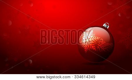 Christmas Balls. Christmas Background. Merry Christmas Banner. Red Christmas Ornament Balls On Red S