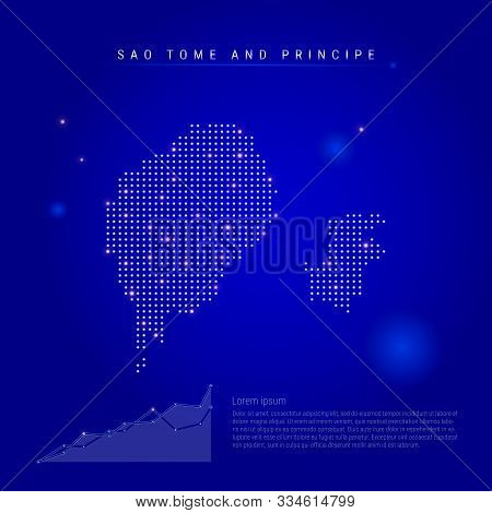 Sao Tome And Principe Illuminated Map With Glowing Dots. Infographics Elements. Dark Blue Space Back