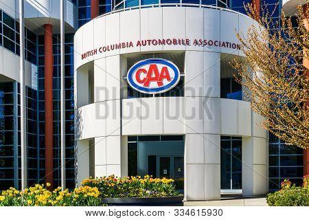 Burnaby, British Columbia, Canada - April 12, 2019: Bcaa British Columbia Automobile Association Bui