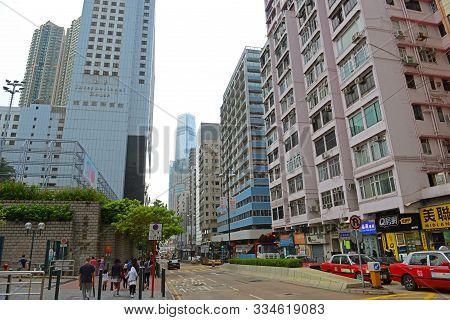 Hong Kong, China - Nov 10, 2015: Hong Kong Austin Road Near Nathan Road, Kowloon, Hong Kong.
