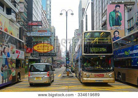 Hong Kong, China - Nov 10, 2015: Double Deck Buses On Nathan Road In Kowloon, Hong Kong, China. Nath