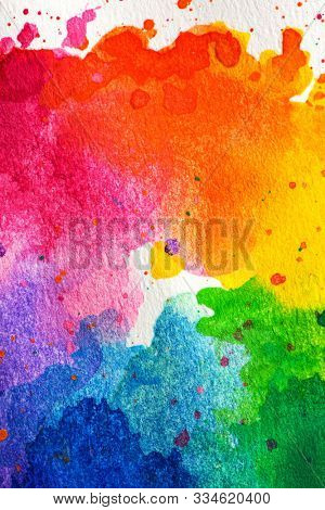 Close up of  an impressionist style artistic color wheel or color palette drawn with water colors.