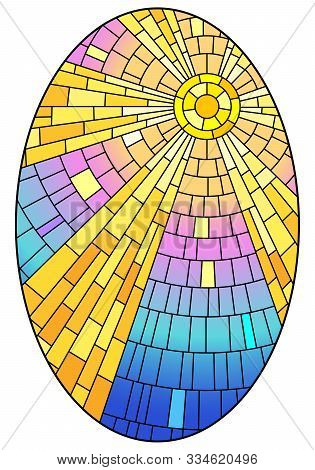 Illustration In Stained Glass Style With Abstract Celestial Landscape, Sun With Rays Against The Sky