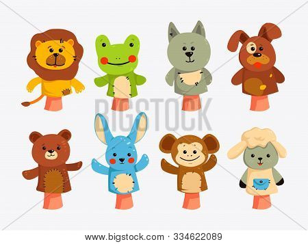 Educational Game With Animal Dolls On Hand, Vector Characters Isolated. Hands Puppets Play Doll, Cut