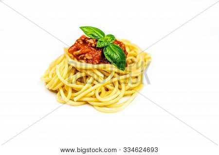 Italian Pasta Spaghetti Bolognese With Basil Isolated On White Background
