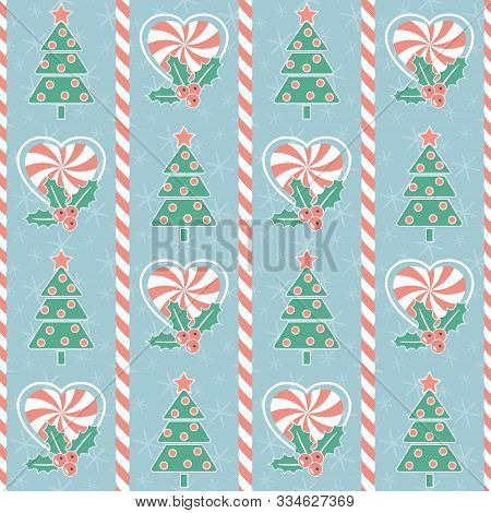 Christmas Pattern. Seamless Vector Illustration With Stylized Christmas Trees, Heart-shaped Candies
