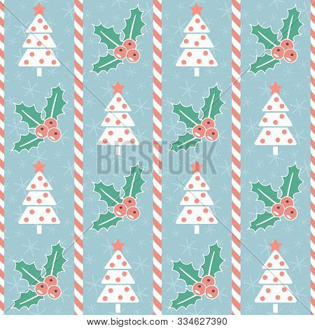 Christmas Pattern. Seamless Vector Illustration With Stylized Christmas Trees, Candy Canes And Mistl