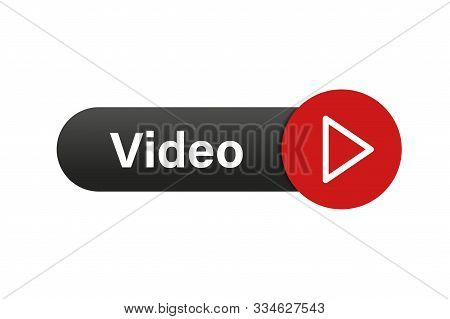 Video Button. Red Play Icon Button. Isolated Vector Illustration. Arrow Click Icon. Web Button. Eps