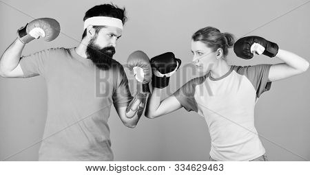 Punching, Sport Success. Training With Coach. Knockout And Energy. Couple Training In Boxing Gloves.