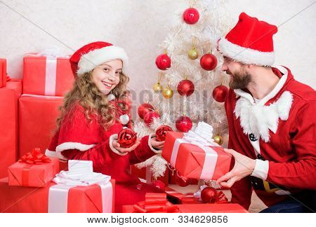 Idyllic Moments. Dad In Santa Costume With Daughter Cute Kid Celebrate Christmas Together. Happy Chi