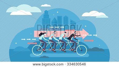 Teamwork Motivated Cooperation Power Concept, Flat Tiny Persons Vector Illustration. Determined Busi