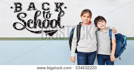 Two freshmen at school enrollment in whiteboard with back to school text