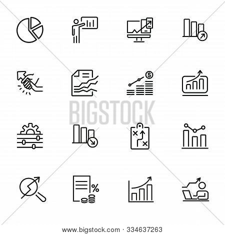 Business Strategy Line Icons Set. Set Of Line Icons On White Background. Economy Concept. Plan, Sche