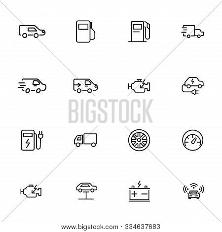 Car Service Line Icon Set. Filling Station, Electric Car, Wheel. Car Concept. Can Be Used For Topics
