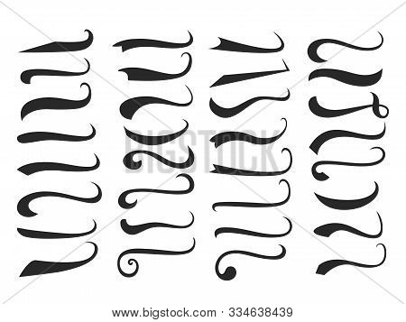 Black Text Swooshes Isolated Vector Design Elements Set