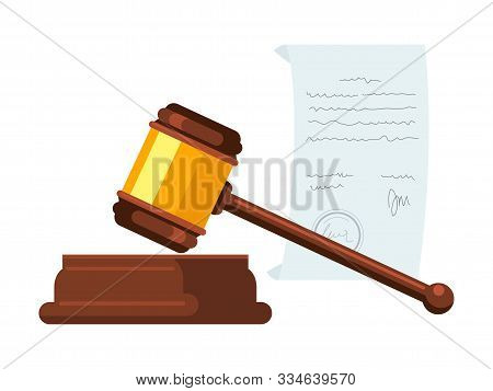 Wooden Hammer, Gavel Flat Vector Illustration. Judge, Magistrate Instrument. Court Trial, Legal Auth