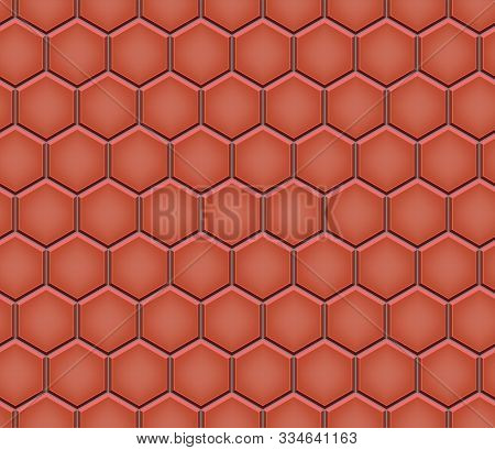 Seamless Pattern Of Hexagon Tiled Cobblestone Pavers. Geometric Mosaic Street Tiles. Red Color. Pave