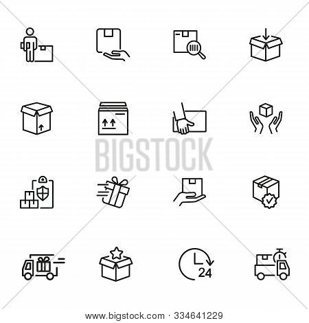 Delivery Line Icon Set. Courier, Gift, Parcel. Shipment Concept. Can Be Used For Topics Like Postal
