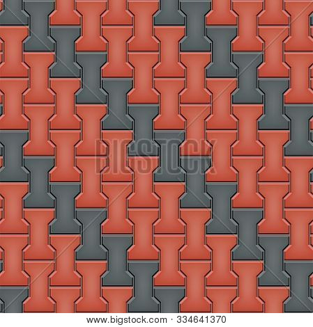 Seamless Pattern Of Tiled Cobblestone Pavers. Geometric Mosaic Street Tiles. Red And Black Color. Du