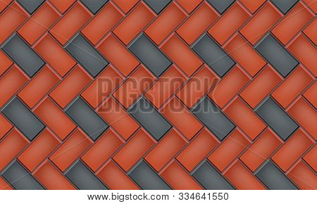 Seamless Pattern Of Tiled Cobblestone Pavers. Geometric Mosaic Street Tiles. Red And Black Two Color