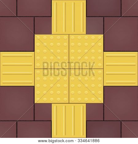 Yellow Tactile Paving Cross Tile On Cobblestone. Footpath For The Blind And Visually Impaired. Cross