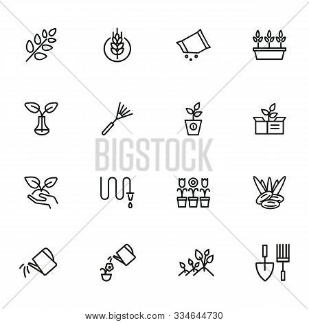 Gardening Line Icons. Set Of Line Icons On White Background. Hobby Concept. Flowers, Leaf, Earth, Eq