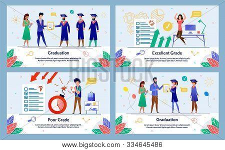 Set Banner Written Graduation, Excellent Grade. Poor Grade. Teachers Give Diplomas And Awards To Gra