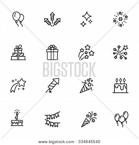 Happy Birthday Icon Set. Line Icons Collection On White Background. Firework, Firecracker, Gift. Cel