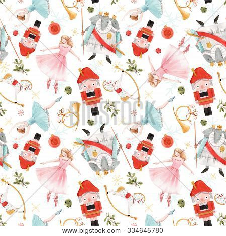 Watercolor Hand Drawn Christmas Nutcracker Fairy Tale Ballet Seamless Pattern