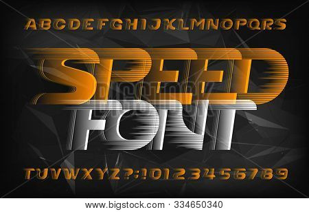 Speed Alphabet Font. Wind Effect Futuristic Letters And Numbers On Abstract Polygonal Background. St