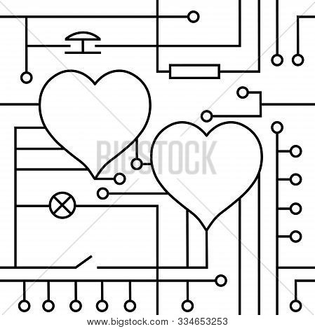 Vector Drawing Heart Valentine`s Day Greeting Card, Original Love Circuitry. Technology