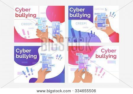 Set Of Illustrations Of Person Receiving Nasty Messages Via Net. Abuse, Victim. Flat Vector. Cyber B