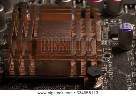 Close Up Chipset Heatsink Aluminium On Motherboard