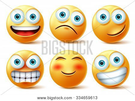 Emojis And Emoticons Face Vector Set. Emoji Cute Faces In Happy, Angry And Funny Facial Expression I
