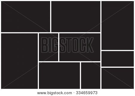 Photo Collage Background. Photo Collage Template, Pattern With Black Background. Applicable For Fram