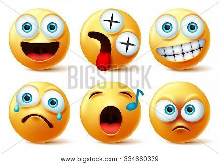 Emoji Face Vector Set. Emojis Or Emoticon Cute Faces With Happy, Dizzy, Singing, Angry, Surprise, Sa