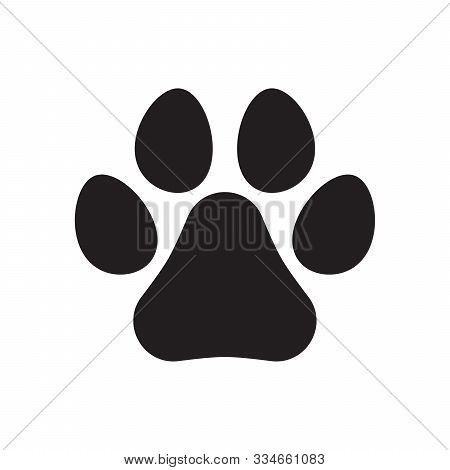 Animal Paw Print Icon. Dog Or Cat Paw Print. Pet Footprint. Dog Track Icon. Flat Vector Illustration