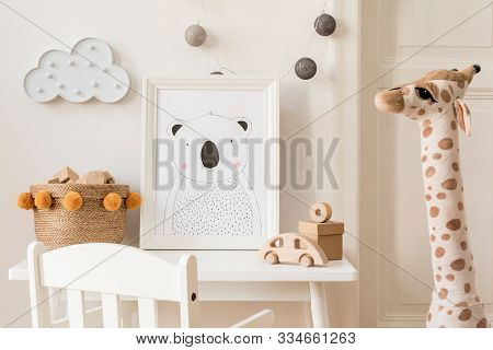 Modern And Design Scandinavian Interior Of Kidroom With White Desk, Armachir, Mock Up Poster Frame,
