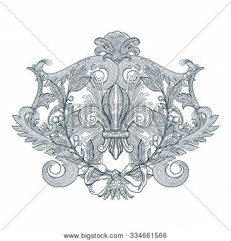 Decorative Design Element Baroque Blue Color.vintage Floral Victorian Ornamental.