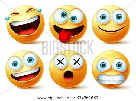 Emoji And Emoticon Faces Vector Set. Emojis Or Emoticons With Crazy, Surprise, Funny, Laughing, And
