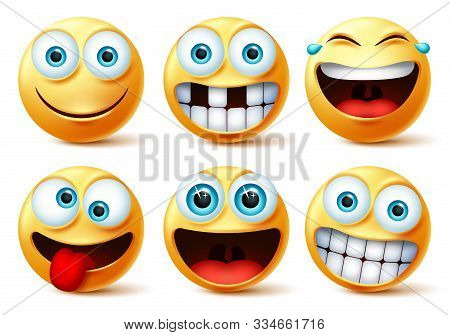 Emojis Vector Face Set. Emoticons And Emoji Cute Faces In Crazy, Funny, Excited, Laughing, And Tooth