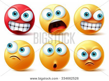 Emoticons Face Vector Set. Emojis Yellow Icon And Emoticon Faces With Angry Red, Surprise, Cute, Cra