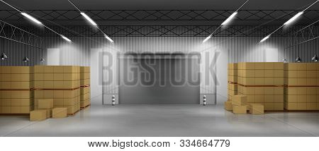 Industrial Warehouse, Commercial Storehouse Interior With Cardboard Boxes Standing On Pallets, Rolli
