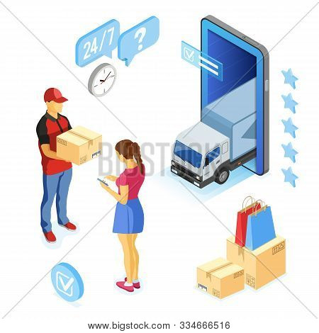 Isometric Online Shopping, Delivery, Logistics Concept. Smartphone With Online Delivery Man, Woman,
