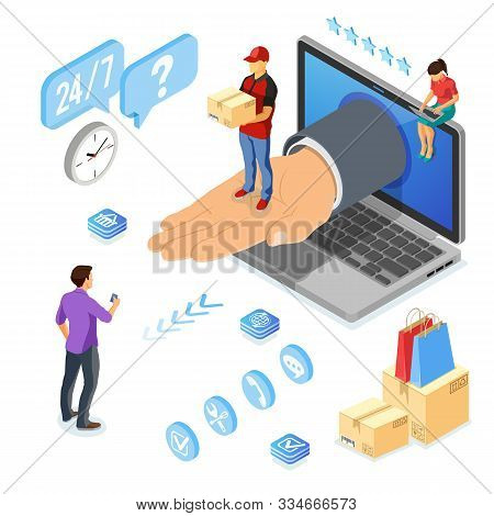 Isometric Online Shopping, Delivery, Logistics Concept. Laptop With Hand, Delivery Man, Box. 24h Int